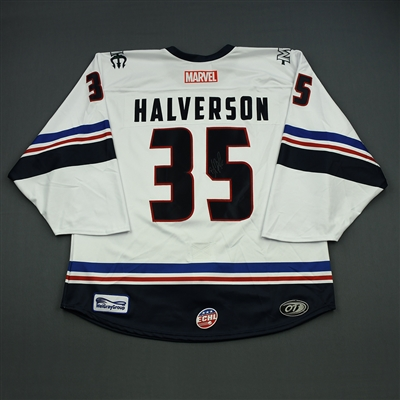 Brandon Halverson - Maine Mariners - 2018-19 MARVEL Super Hero Night - Game-Worn Autographed Jersey, and Socks
