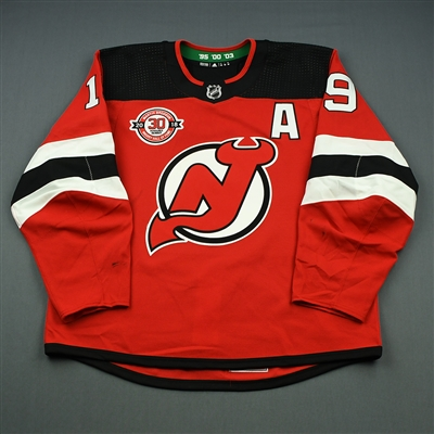 Travis Zajac - New Jersey Devils - Martin Brodeur Hockey Hall of Fame Honoree - Game-Worn Jersey w/A - Nov. 13