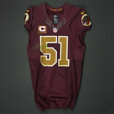 Will Compton - Washington Redskins - 2016 Game-Worn Burgundy Throwback  Jersey - Nov. d7c0a348f
